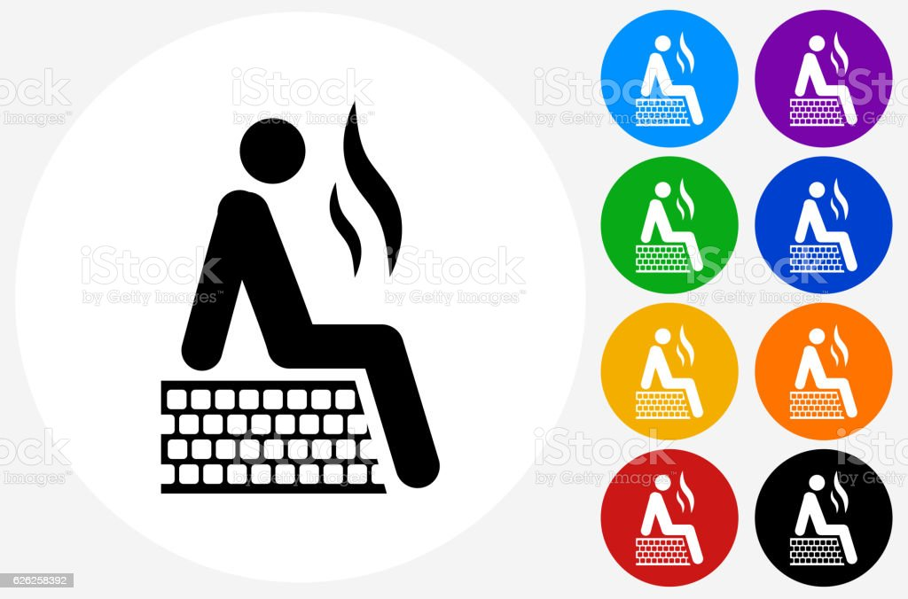 Person in Sauna Icon on Flat Color Circle Buttons vector art illustration