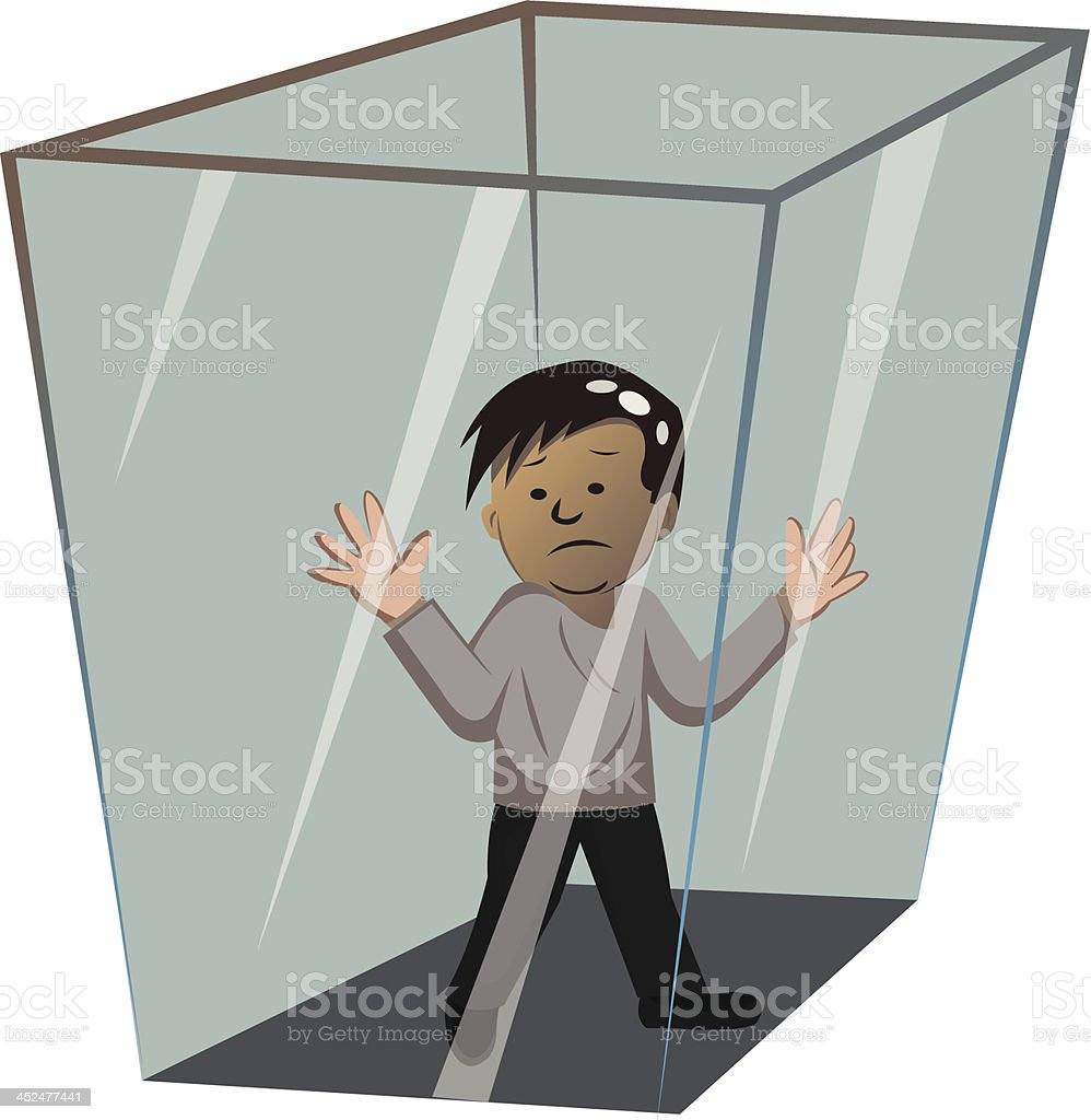 person in the box vector art illustration
