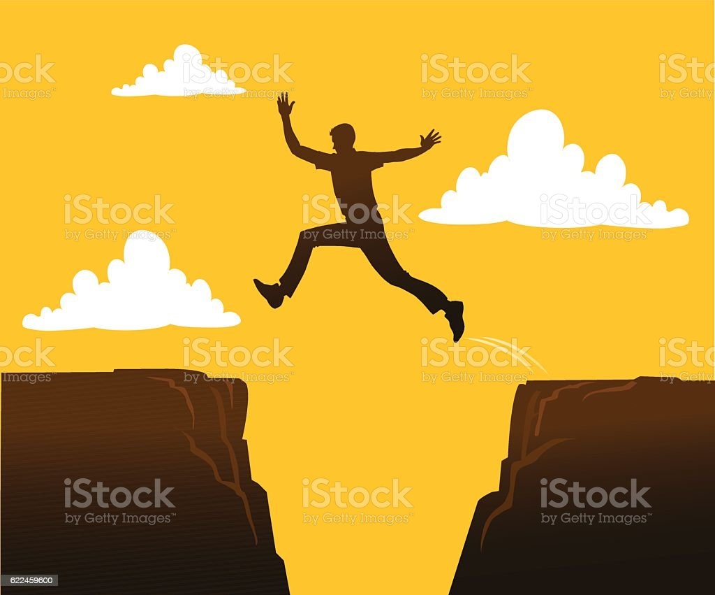 Person Jumping Over the Gap vector art illustration