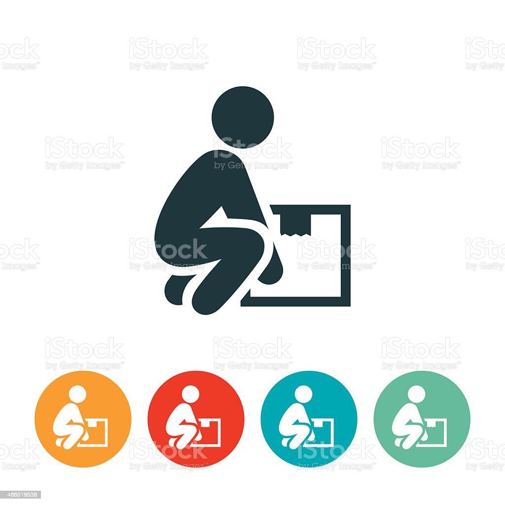 Person Lifting a Box Icon vector art illustration