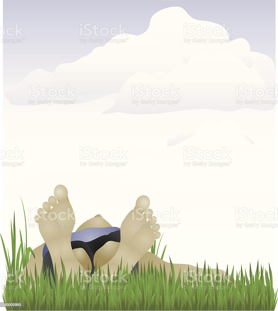 Person lying in the grass royalty-free stock vector art