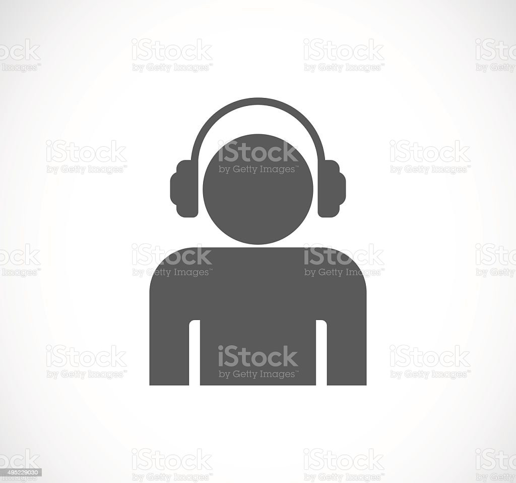 person man with headphones icon vector art illustration