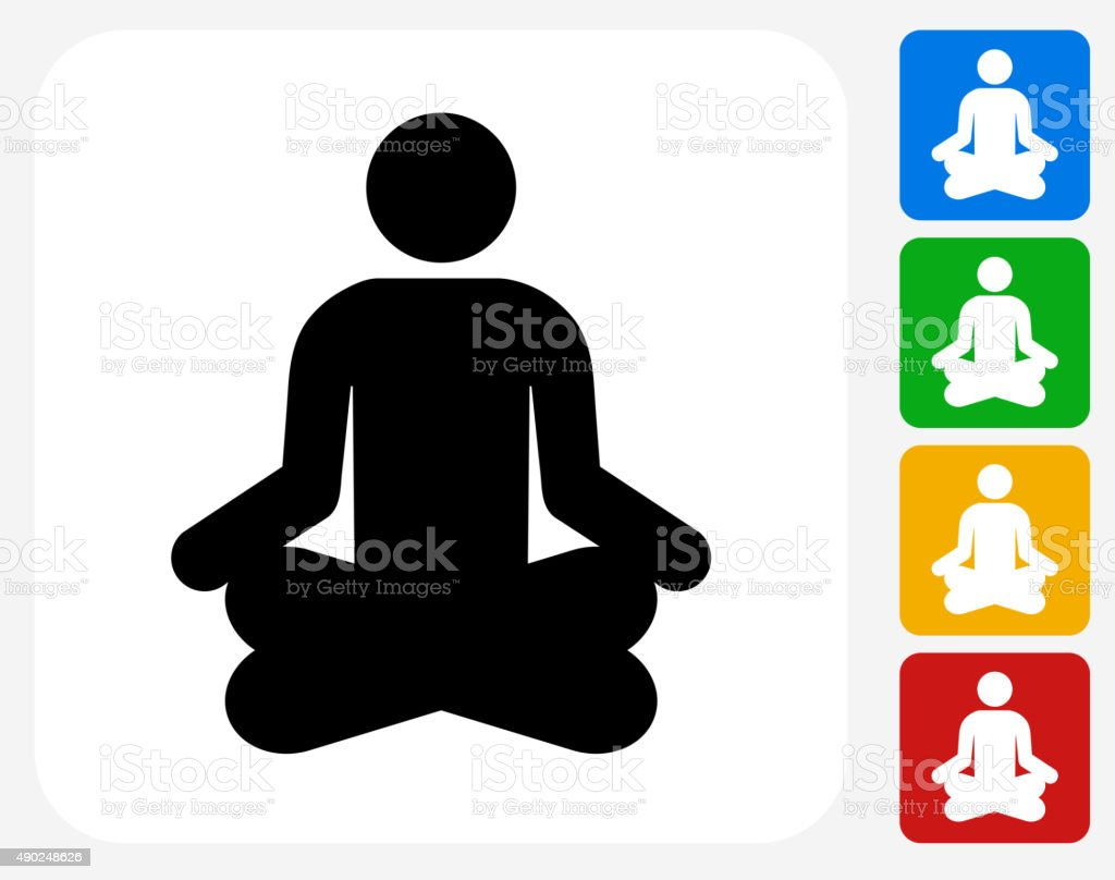 Person Meditating Icon Flat Graphic Design vector art illustration
