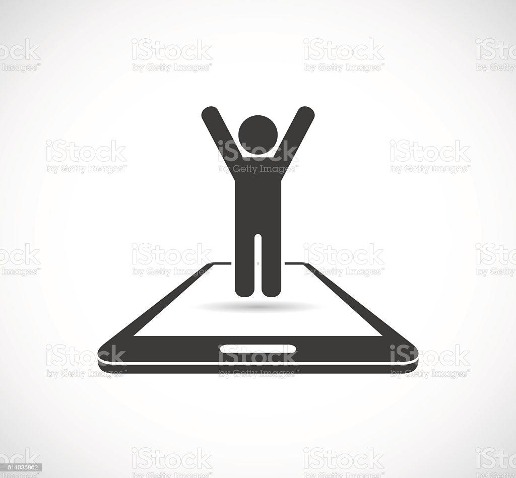 person on smartphone icon vector art illustration