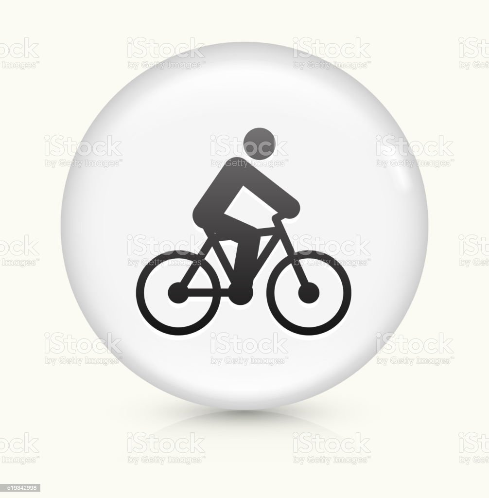 Person on the Bike icon on white round vector button vector art illustration