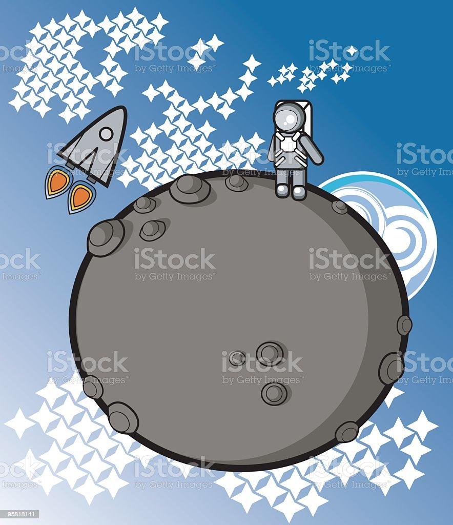 On the moon vector art illustration
