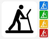 Person on The Treadmill Icon Flat Graphic Design