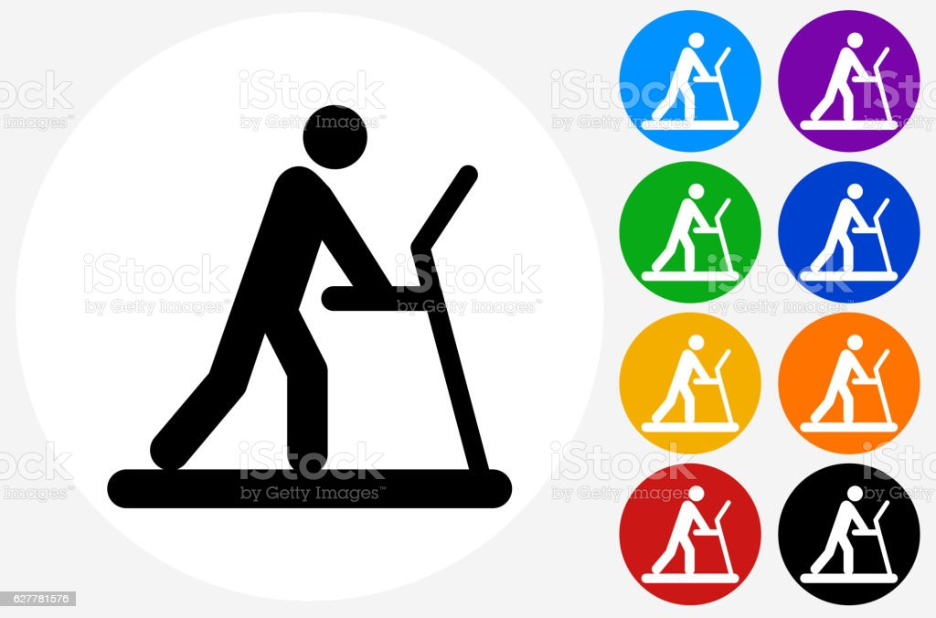 Person on The Treadmill Icon on Flat Color Circle Buttons vector art illustration