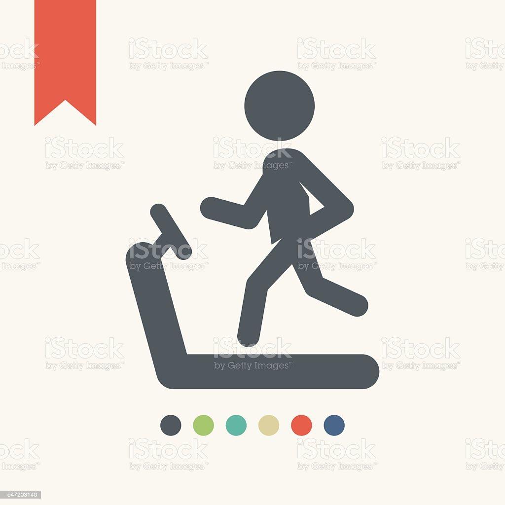 Person on the treadmill icon vector art illustration