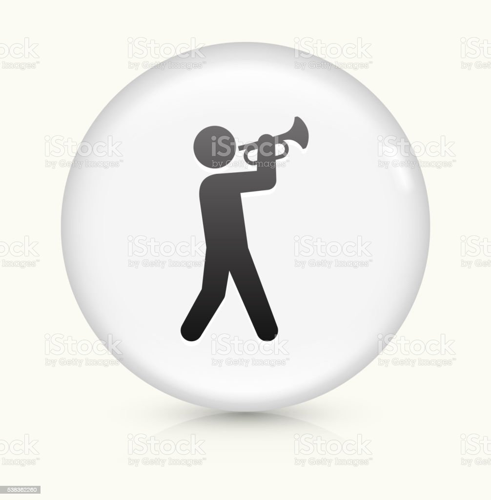 Person Playing Trumpet icon on white round vector button vector art illustration