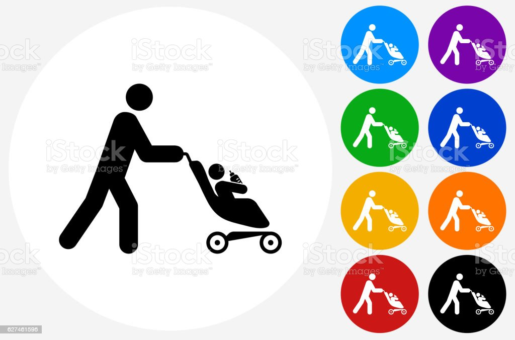 Person Pushing a Stroller Icon on Flat Color Circle Buttons vector art illustration