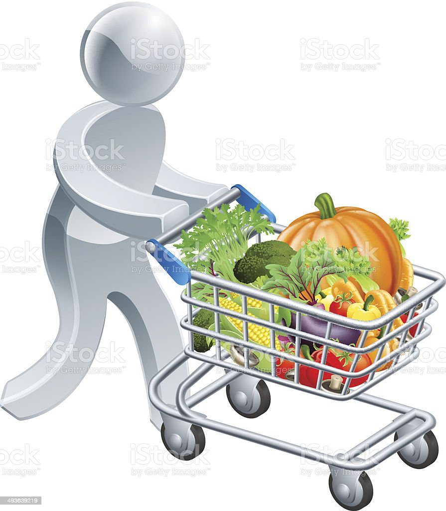 Person pushing trolley with vegetables royalty-free stock vector art