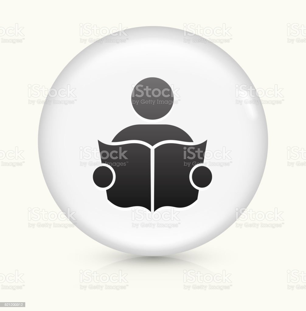 Person Reading icon on white round vector button vector art illustration