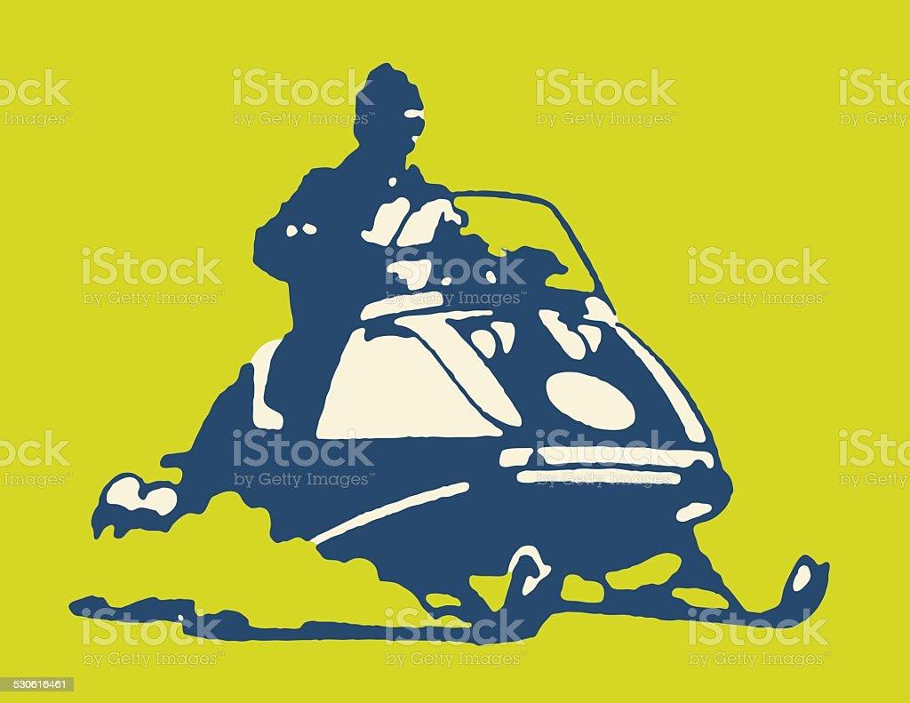 Person Riding a Snowmobile vector art illustration