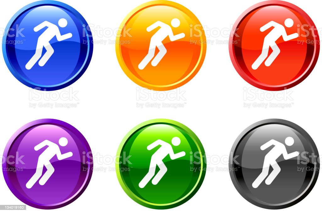 Person running icon 6 colors vector art illustration