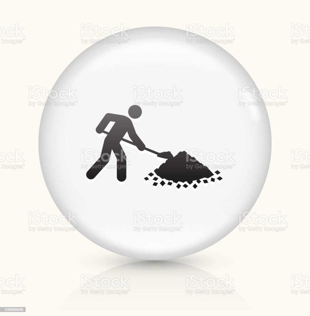Person Shoveling icon on white round vector button vector art illustration