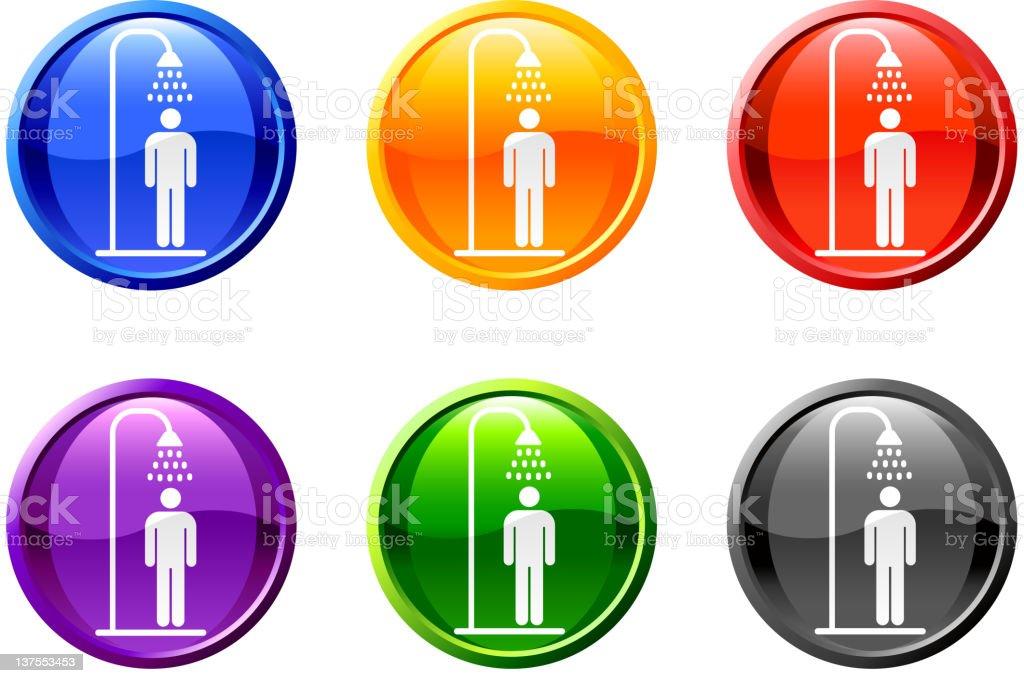 person showering button royalty free vector art vector art illustration