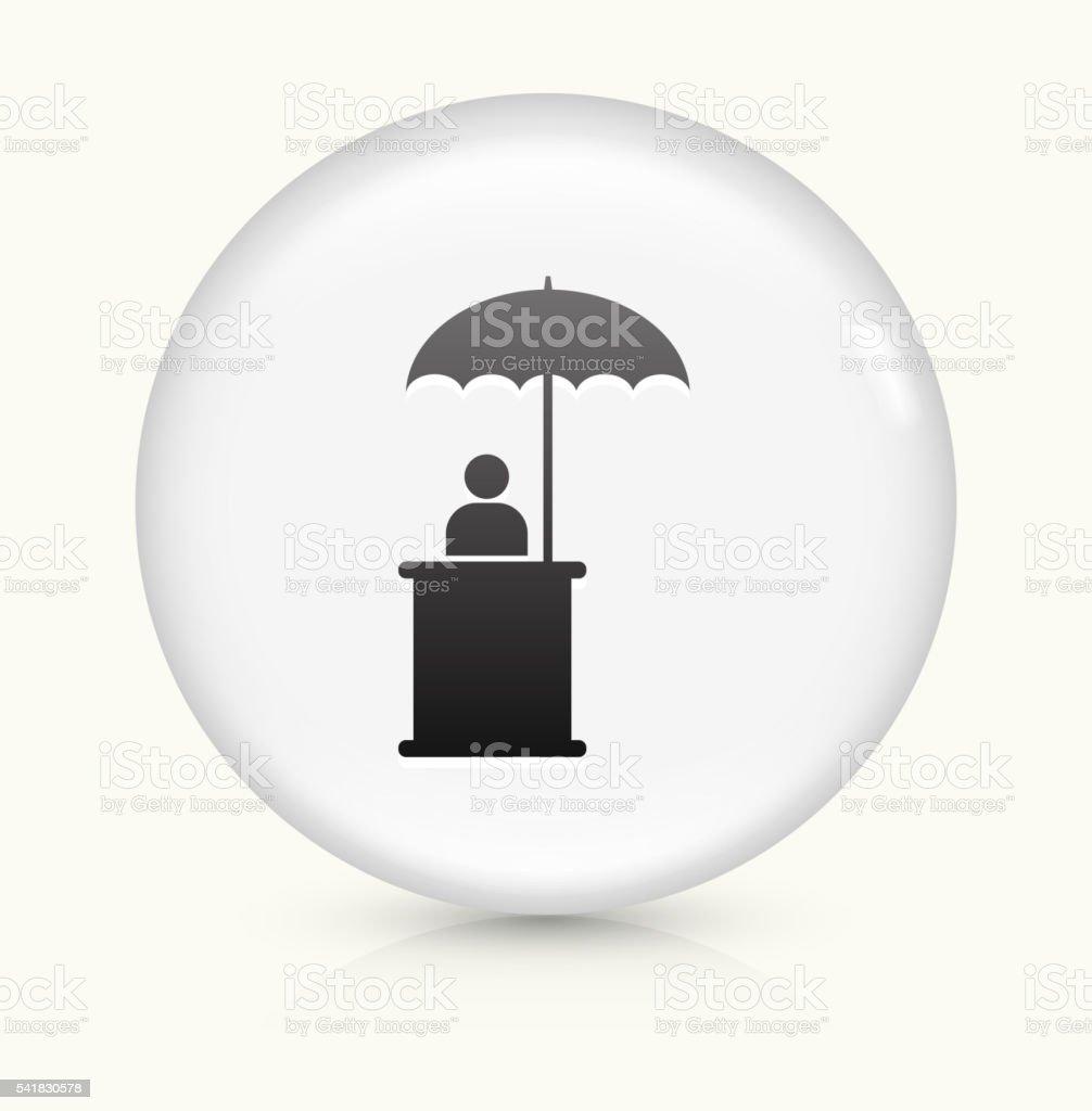Person Sitting Under Umbrella icon on white round vector button vector art illustration