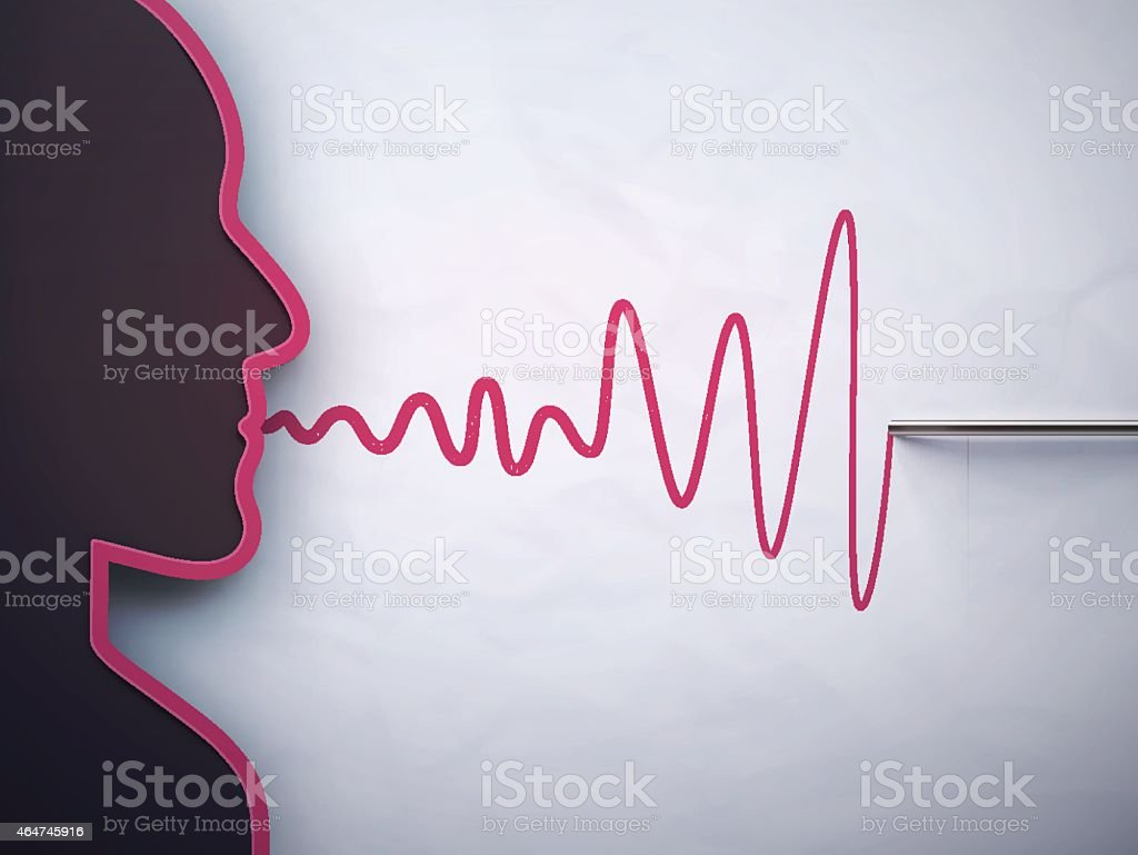 Person speaking waves into a lie detector needle vector art illustration