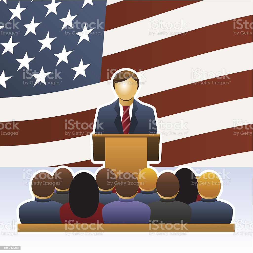 Person talking to audience vector art illustration