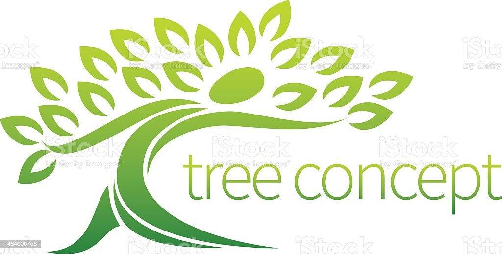 Person tree icon concept vector art illustration