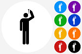 Person Using Spray Can Icon on Flat Color Circle Buttons