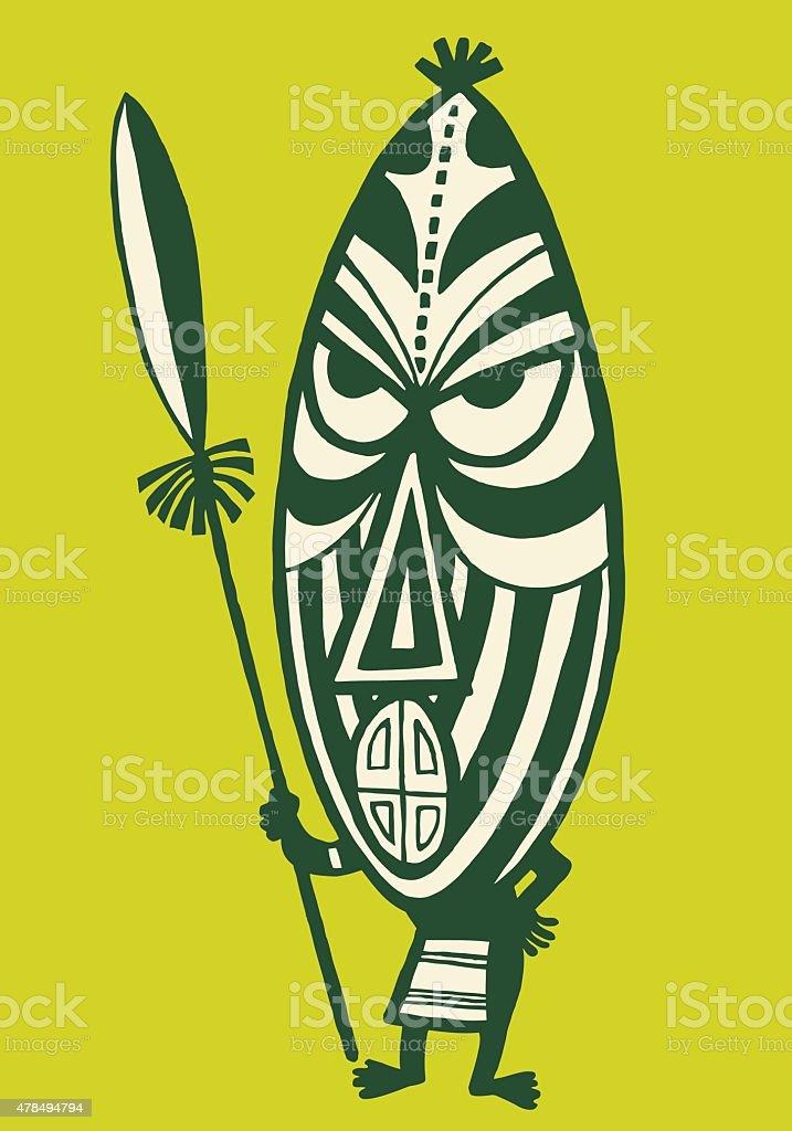 Person Wearing Tribal Mask vector art illustration