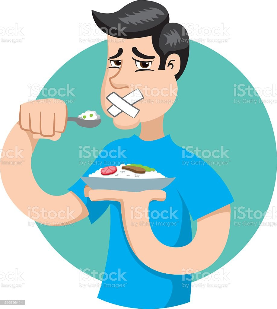 person with no appetite, fasting or making diet vector art illustration