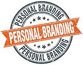 personal branding round orange grungy vintage isolated stamp
