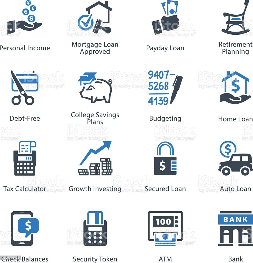 Personal & Business Finance Icons Set 2 - Blue Series vector art illustration