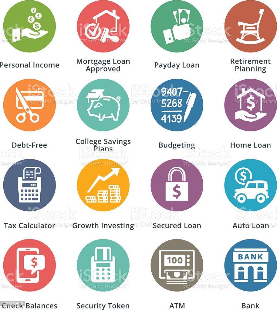 Personal & Business Finance Icons Set 2 - Dot Series vector art illustration