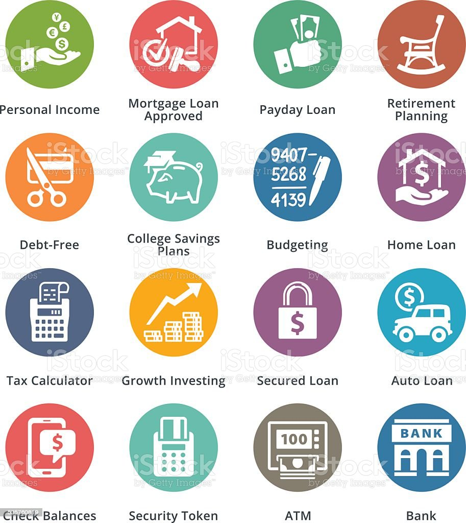 Personal & Business Finance Icons Set 2 - Dot Series vector art illustration