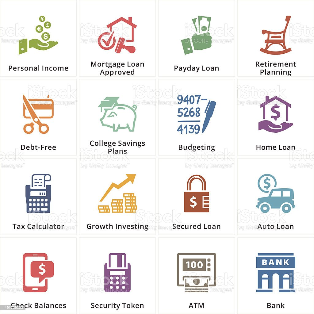 Personal & Business Finance Icons - Set 2 vector art illustration