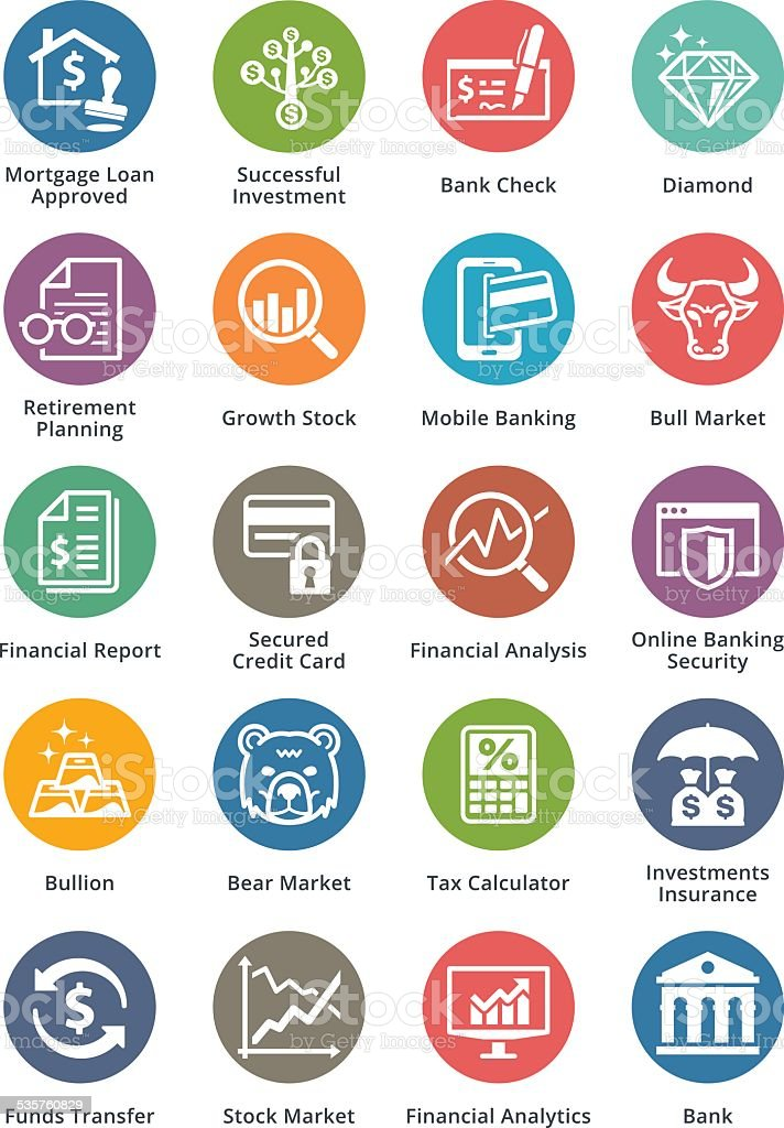 Personal & Business Finance Icons Set - Dot Series vector art illustration