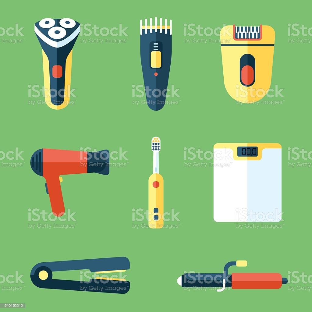 Personal care appliances vector art illustration