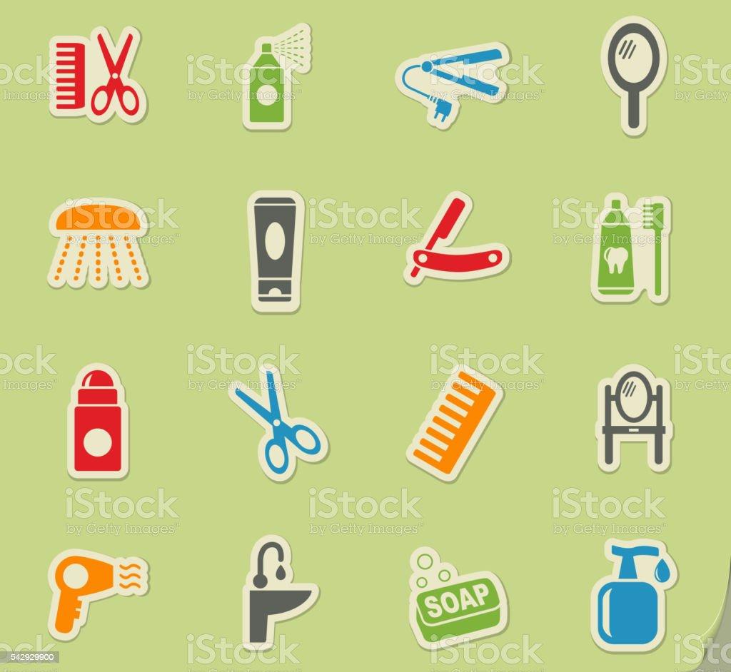 personal care icon set vector art illustration
