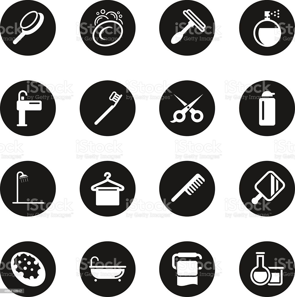 Personal Care Icons - Black Circle Series vector art illustration