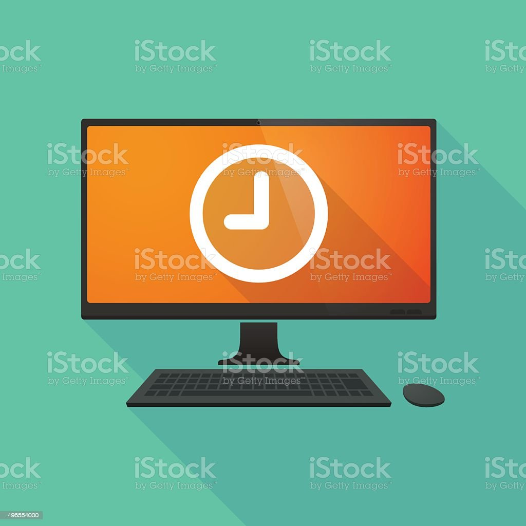 Personal computer with a clock vector art illustration