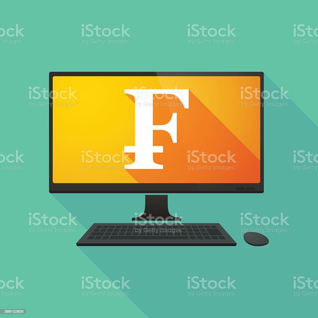 Personal computer with a swiss franc sign vector art illustration
