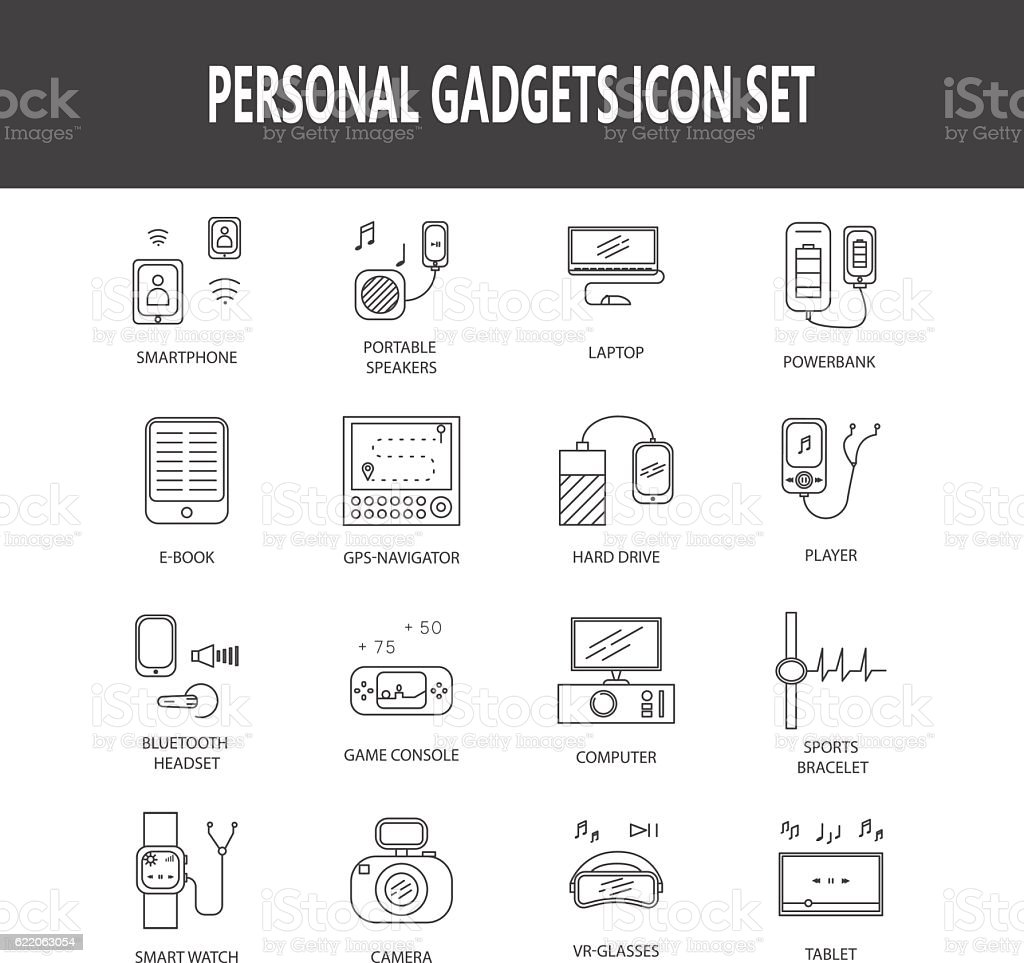 Personal devices icon set vector art illustration