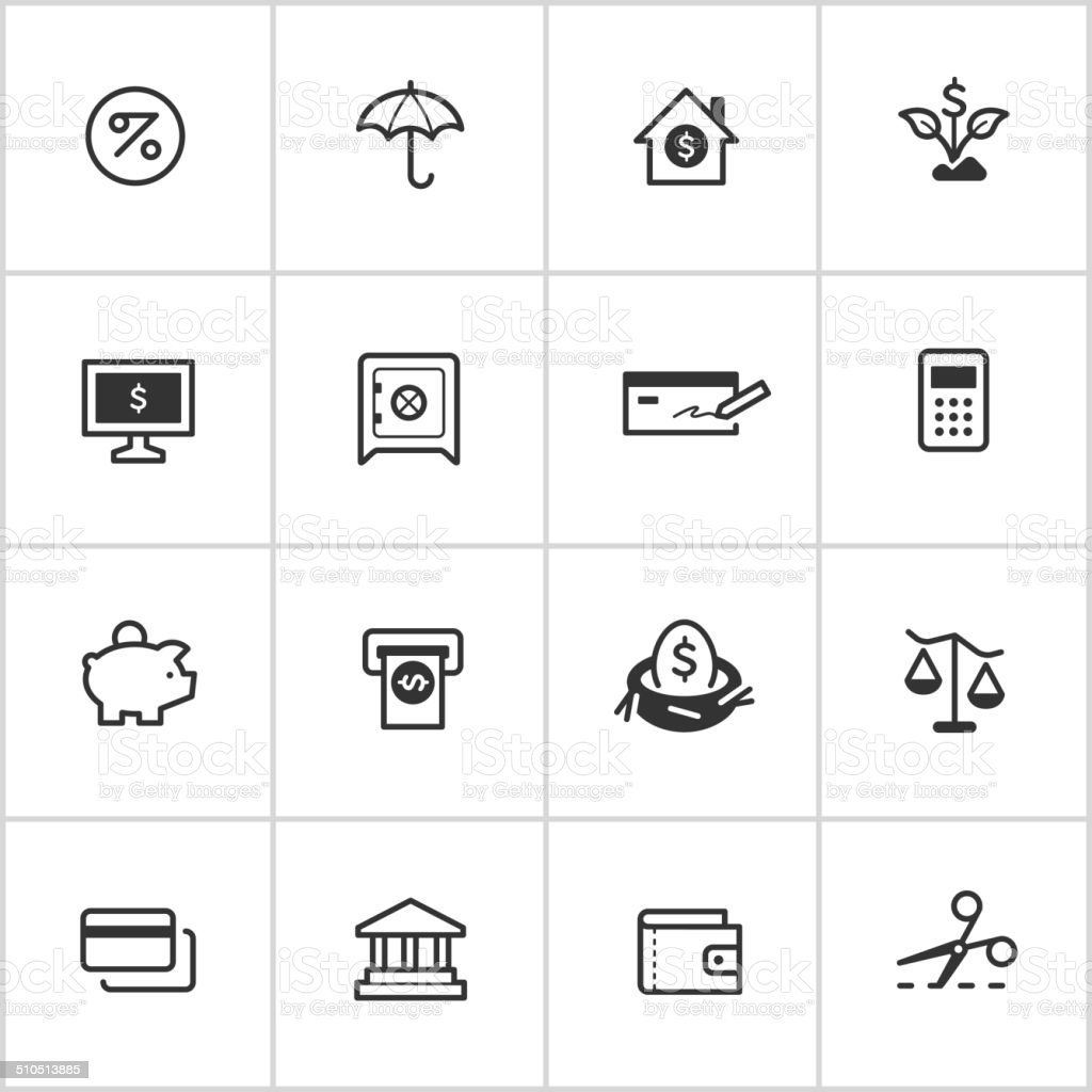 Personal Finance Icons — Inky Series vector art illustration