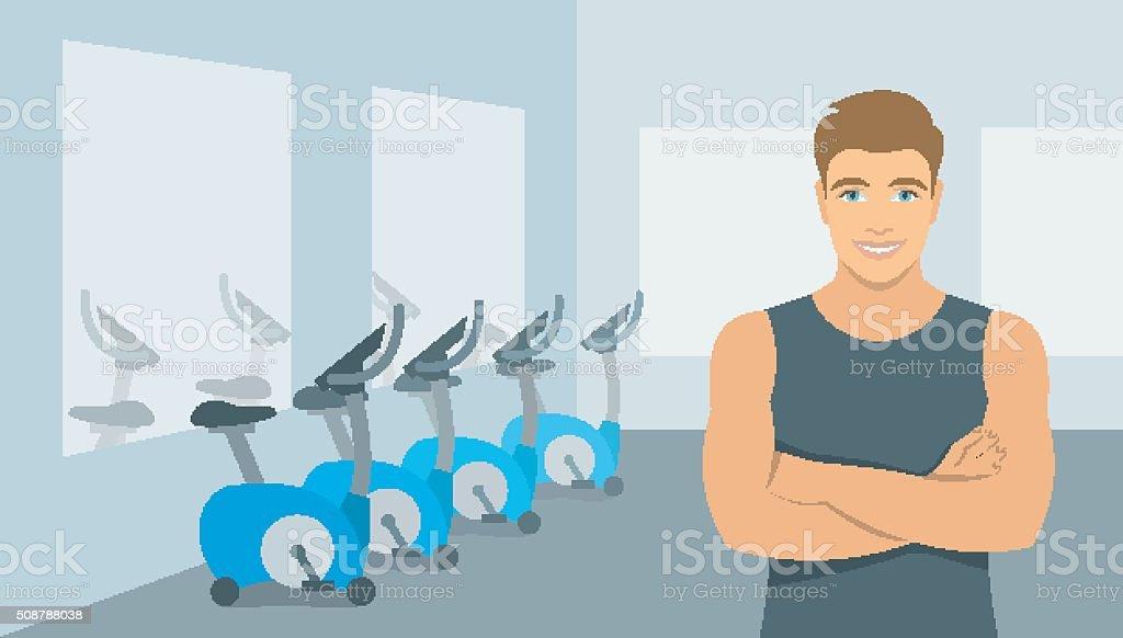 Personal fitness trainer man in gym illustration vector art illustration