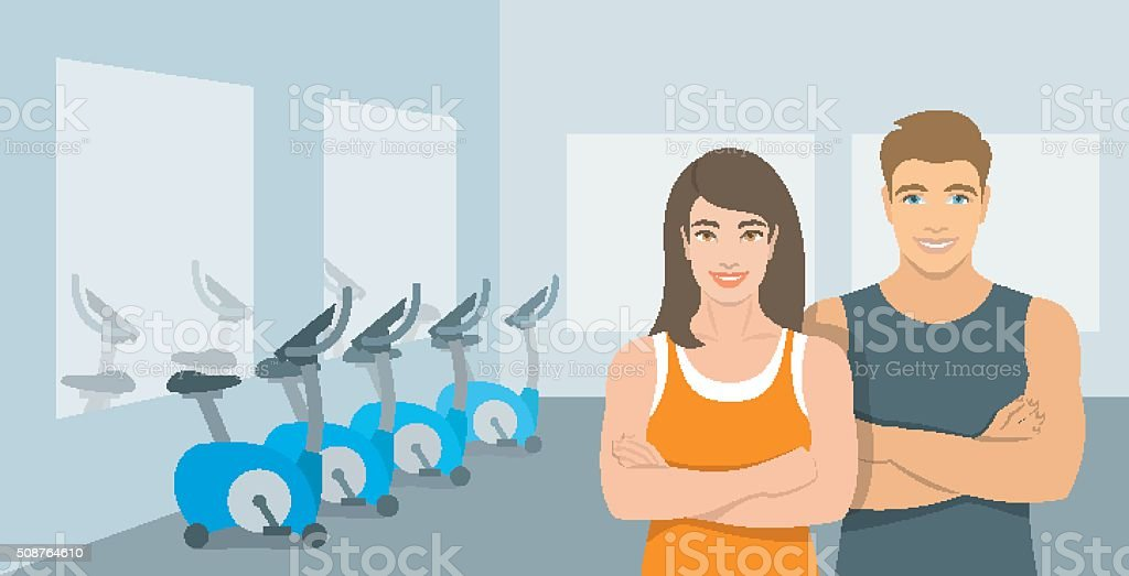 Personal fitness trainers man and woman in gym illustration vector art illustration