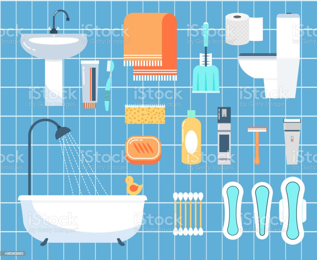 Personal hygiene flat vector icons set vector art illustration