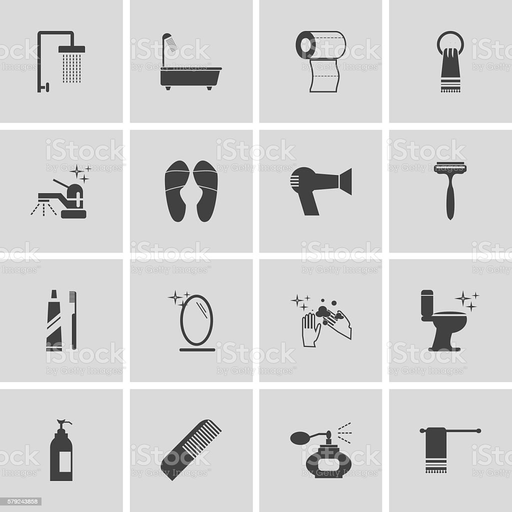 personal hygiene icon set vector art illustration