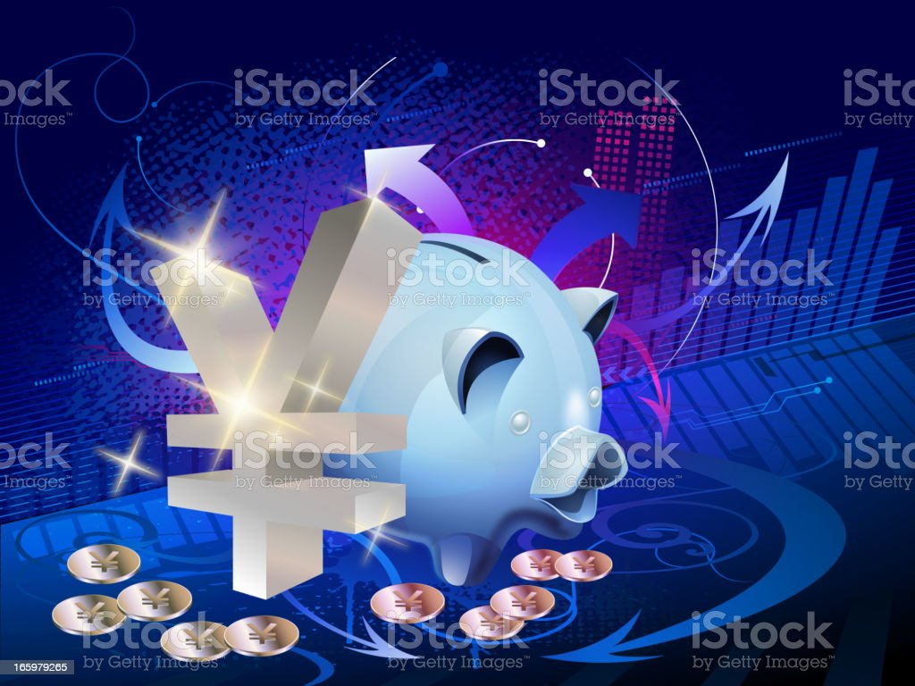 Personal Savings - Finance Background with Yen royalty-free stock vector art