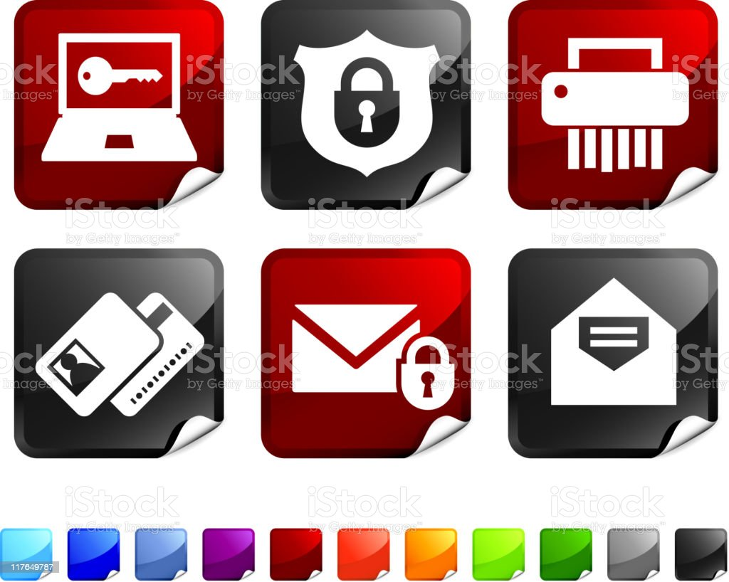 personal security royalty free vector icon set stickers royalty-free stock vector art