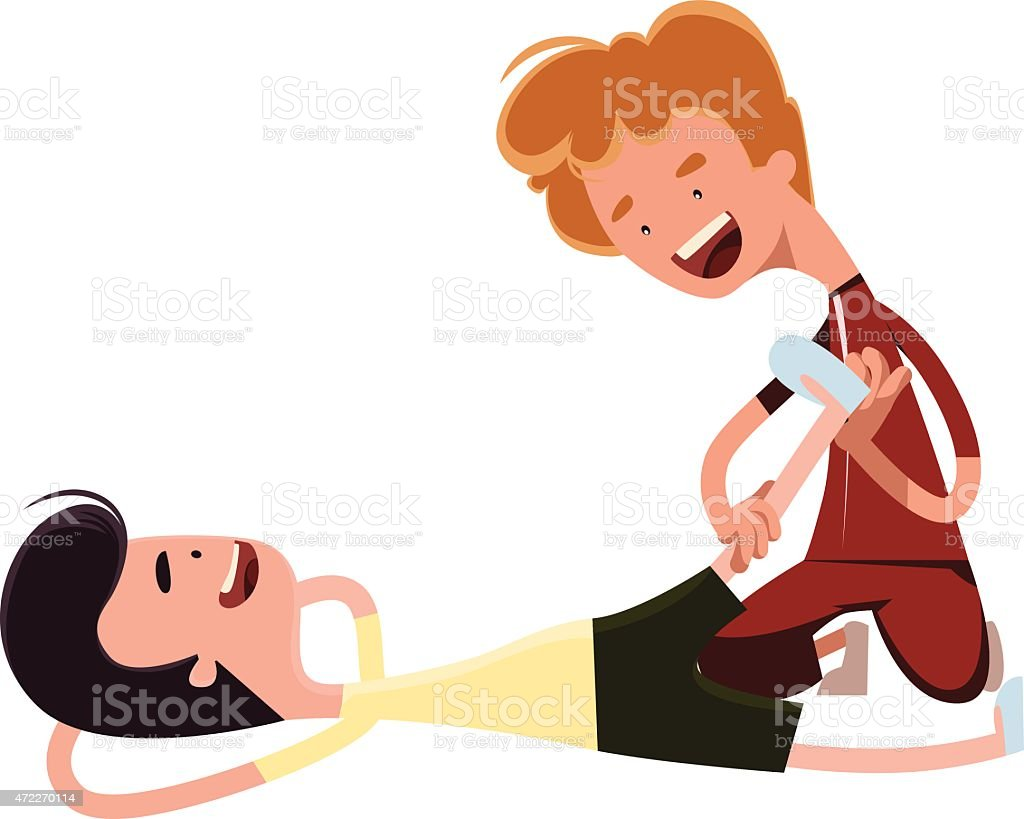 Personal trainer streching out vector illustration cartoon character vector art illustration