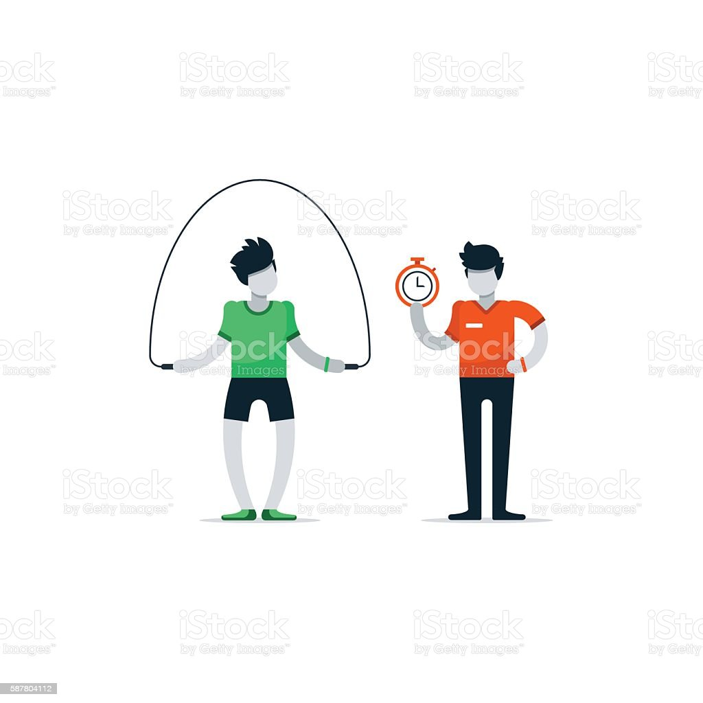 Personal training, workout session gym, sport instructor, professional coaching vector art illustration