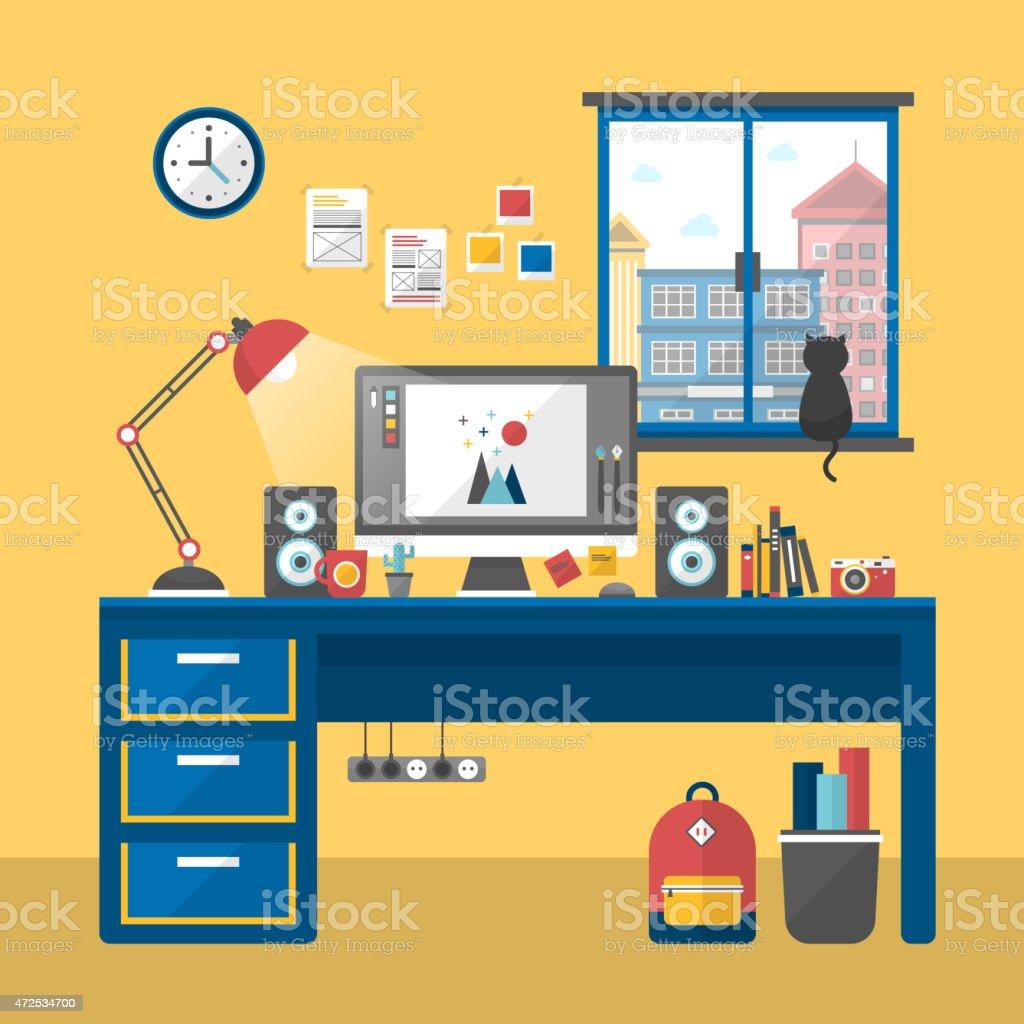 personal workplace scene in flat design vector art illustration